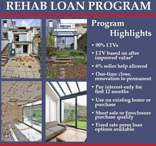 Rehab Loan Program *After improved value capped at lessor of appraised value or cost basis.