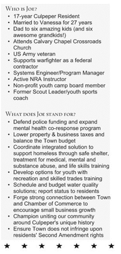 Learn about Joe and his platform priorities.  Let him know if you'd like copies of this as a rack card or doorhanger.