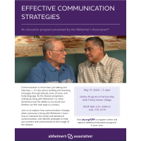 Alzheimer's Association&Trinity Senior Village create online program on effective communication