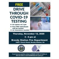 Health District Partners with Culpeper County for Free Drive Through COVID-19 Testing