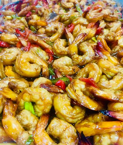 Honey sauteed shrimp and peppers