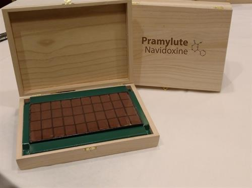 Corporate Logo Chocolate with Custom Wood Box and Insert Packaging