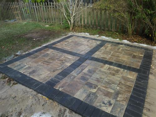 Pattern paver installation.