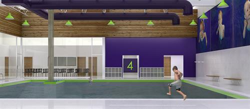 Architect's rendering of the inside of Emler Swim School of Houston - Meyerland.
