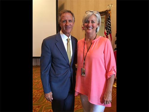 Margaret Lawerence and Governor Haslam at the Collierville Chamber of Commerce 2018