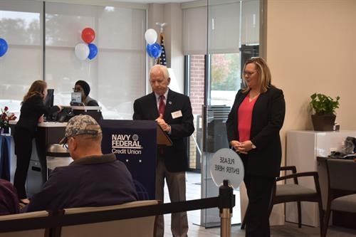 Mayor Pro Tem Ken Marshburn welcoming guest and Navy Federal members.