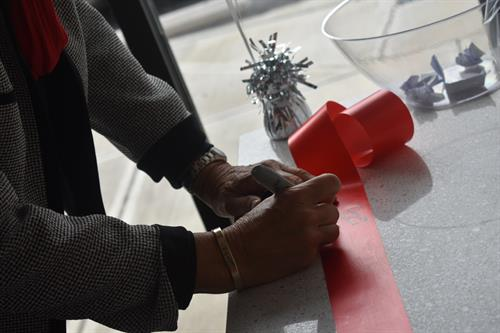 Our official Chamber of Commerce Ribbon signing station (post cutting).
