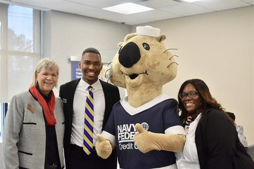 Chamber Business Development Director, Kim Niskey joined by Branch Manager LaDarius Satterwhite, Assistant Manager Luevenia Harris, and our official mascot Sammy the Sea Otter!,