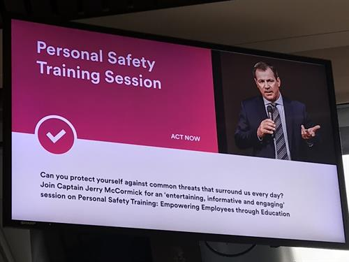 Advertisement at MetLife in Cary for Employee Safety Training in did July 2019