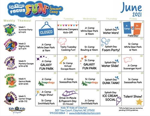 Summer Camp - June Calendar
