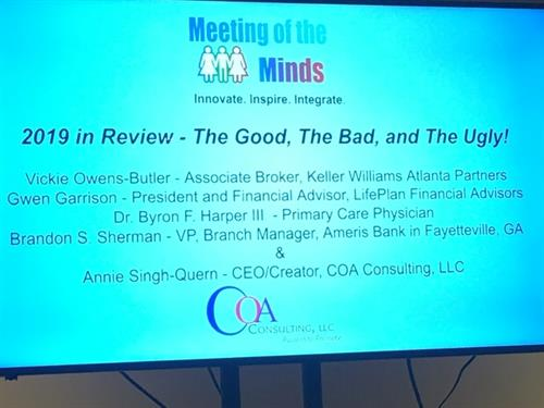 Tuesday, November 19, Gwen was a part of a panel of speakers at Meeting of the Minds on the topic of 2019 In Review: The Good, The Bad, and The Ugly.