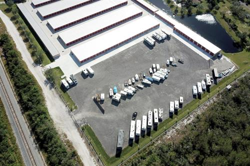 Aerial view of parking area at AAA Malabar Storage