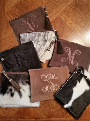 Personalized Cowhide Clutches
