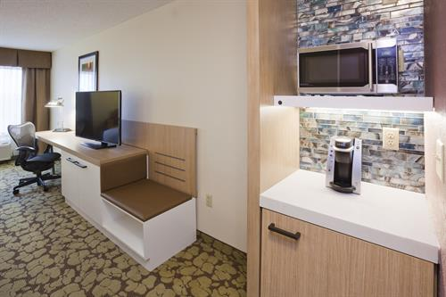 Hospitality center in every guest room-fridge, microwave and Keurig Coffee Maker
