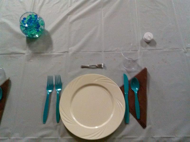 Basic place setting in teal and brown