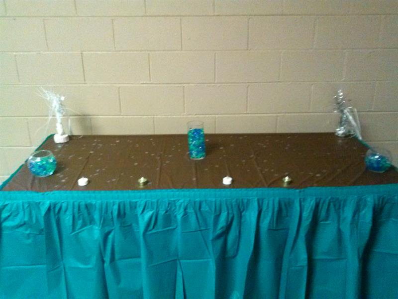 Gift table in brown and teal