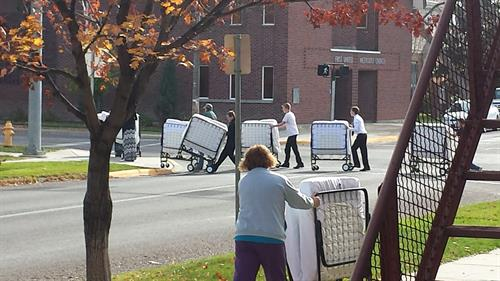 Moving beds from First United Methodist to First Baptist