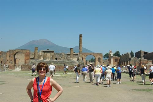 Pompeii, Italy with Mt. Vesuvius in the background
