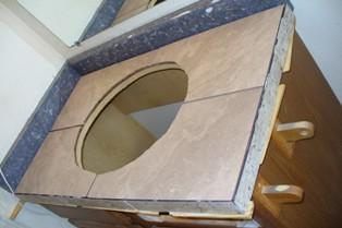 G's Common Bath  Vanity Being Tiled