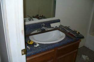 G's Common Bath Vanity Prepped For Tile