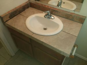 G's Common Bath Sink Re-Installed On New Tile & Stone