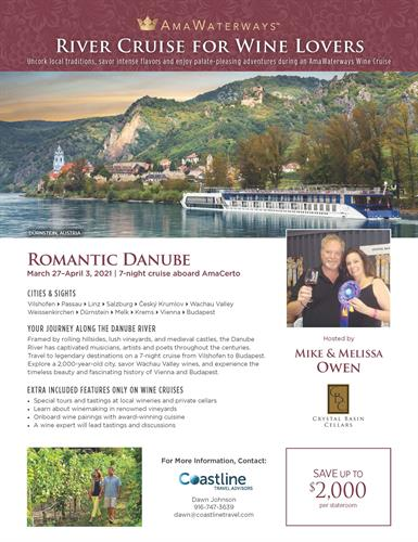 Join Mike & Melissa from Crystal Basin Cellars on a wine-themed Danube Cruise in 2021!