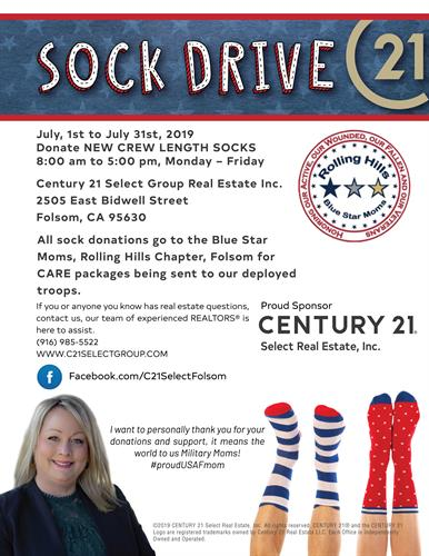 July 1st - July 31st Sock Drive Benefiting Rolling Hills Blue Star Moms For Our Deployed Troops