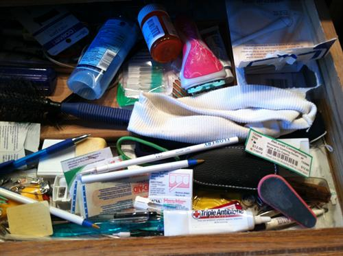 Messy bathroom drawer Before Room Solutions by Paula