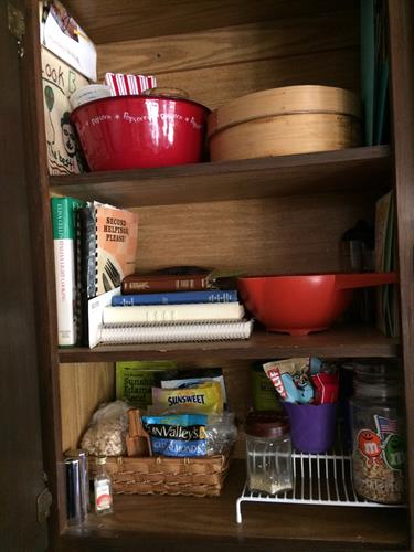 After: Cookbooks and frequently used items now easily accessed. Room Solutions by Paula