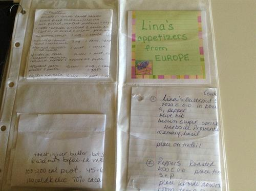 Loose favorite recipes creatively put in CD sleeves secured with key ring. Room Solutions by Paula