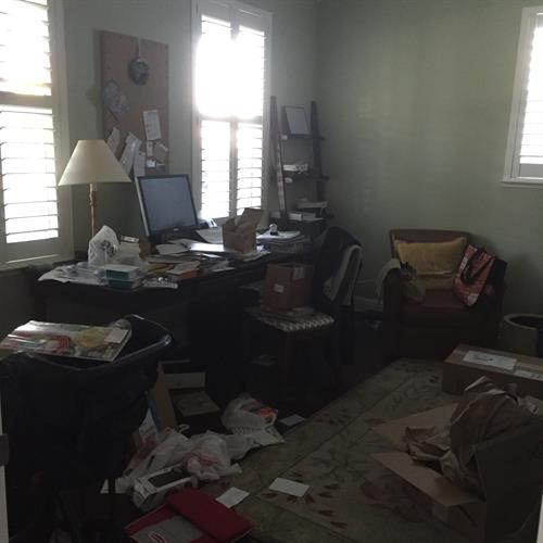 Messy home office Before Room Solutions by Paula