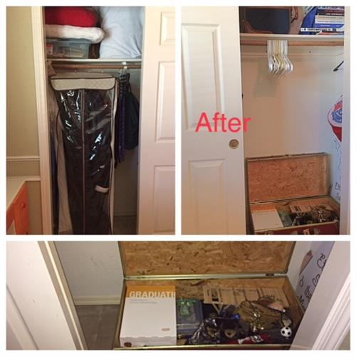 After: student's memorabilia in 1 place with closet room for guests by Room Solutions by Paula