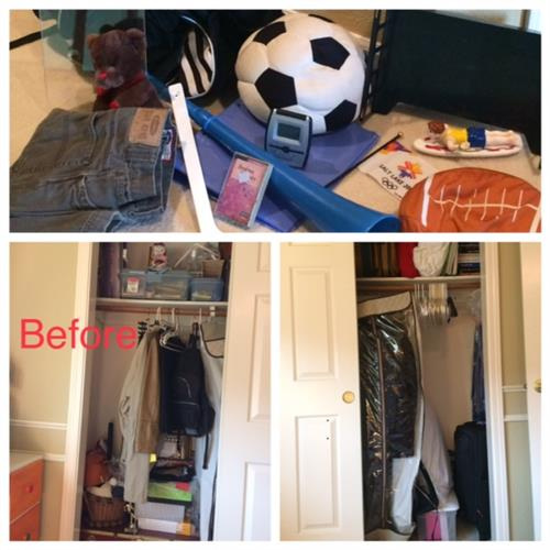 Before: student closet full of random items piled up over the years