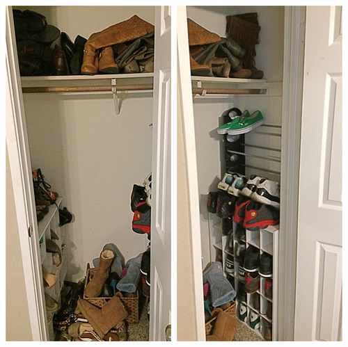 Before: Shoes needed some focus and storage.
