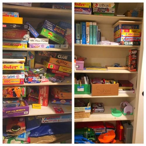 Toy closet de-cluttered adding space for school supplies and anticipated new gifts by Room Solutions by Paula