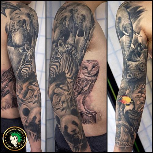 Animal Kingdom full sleeve tattoo by Ms. Ting