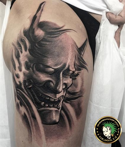 Hannya mask tattoo by Ms. Ting