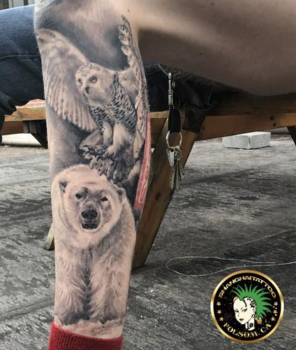 Polar bear and owl portrait tattoo by Ms. Ting