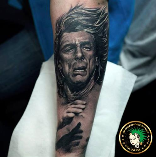 Iggy Pop portrait tattoo by Ms. Ting