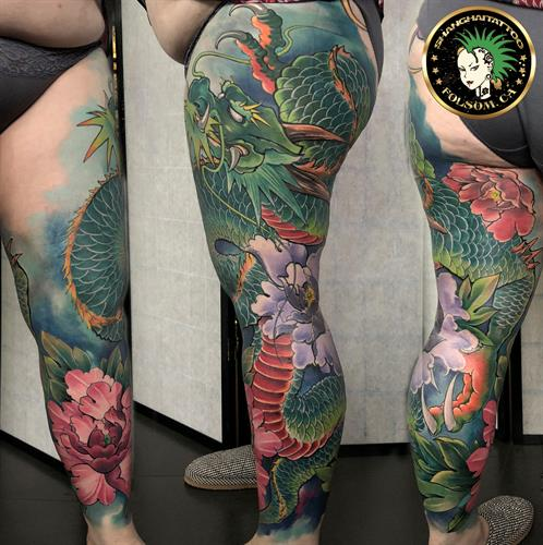 Asian Dragon color full leg sleeve tattoo by Ms. Ting