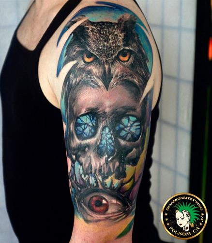 Skull color realism tattoo by Ms. Ting