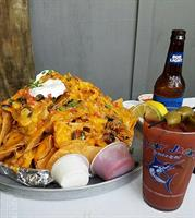 Mexican Garbage Nachos to share with a friend.