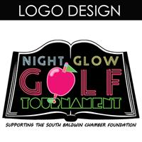 This logo was designed for the South Baldwin Chamber Education Foundation Night Glow Golf Tournament
