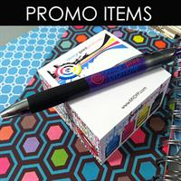 Over 100,00 Promotional Items like pens and notepads (DPP designed and printed these)