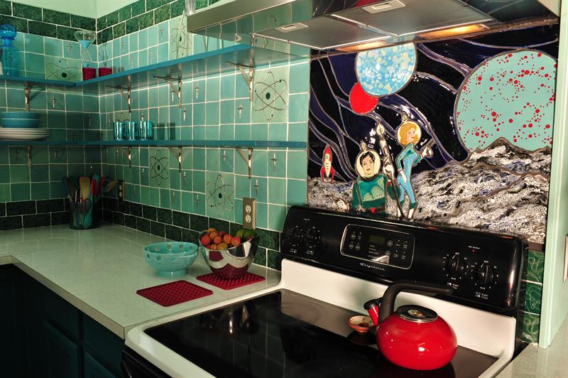 Atomic kitchen with field tiles and retro astronaut stovescape