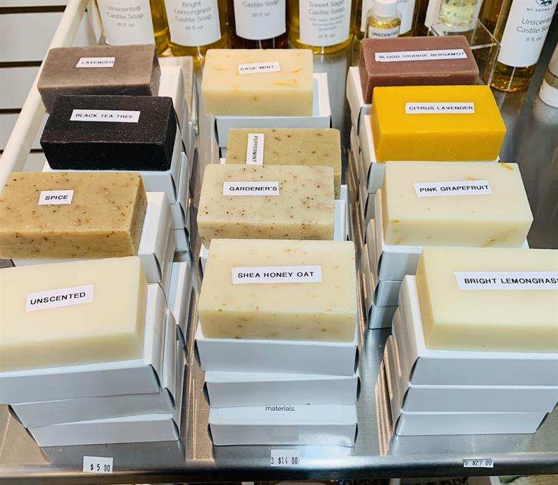 Castile soap - USDA Certified Organic ingredients!  All colors and scents from herbs, spices and essential oils!