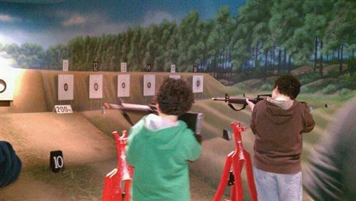 Located in the Museum's Making Marines gallery, this exhibit represents a shooting range. Visitors can come in and practice their marksmanship in the laser simulated rifle range. Recommended for ages 5 and up.