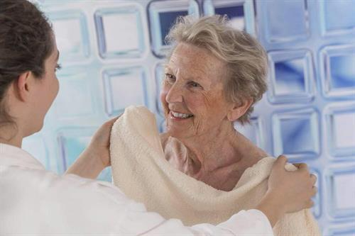 We assist with elderly bathing to prevent falls.