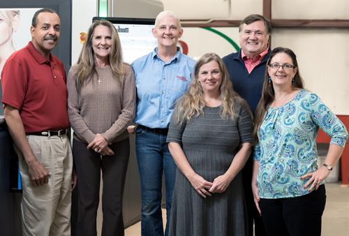 Senior employees at Stafford Printing - Garland, Chris, Kat, Tanya, Howard, and Julie