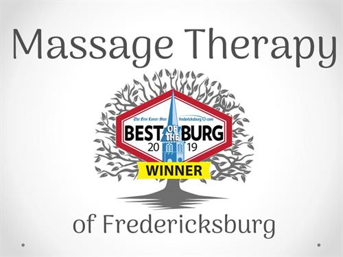 Winner of BEST OF THE BURG 2019 for Best Massage Therapist/Spa